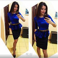 Женский шикарный костюм с баской (4 цвета)