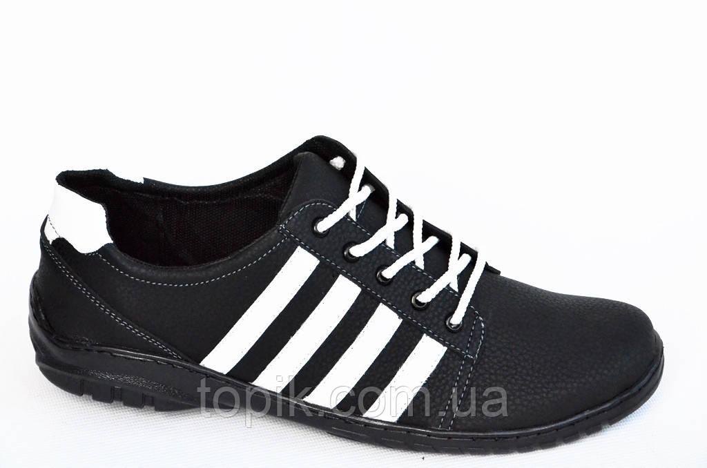 Туфли спортивные кроссовки мужские черные на шнурках прошиты удобные хорошая полнота. (Код: 378)