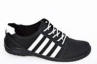 Туфли спортивные кроссовки мужские черные на шнурках прошиты удобные хорошая полнота