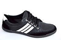 Туфли кроссовки мокасины черные Львов удобные искусственная кожа черные модель 2016. (Код: 379), фото 1