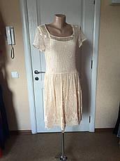 Женское платье летнее ажурное нарядное  вечернее бежевое Massimo Dutti, фото 2