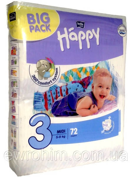 Подгузники Happy 3 (5-9 кг), 72 шт, цена 265 грн., купить в ... d7db885a67a