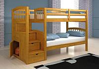 Кровать со ступеньками-ящиками двухъярусная трехместная  «Олимп»