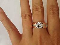 Серебряное кольцо с золотом Эра , фото 1