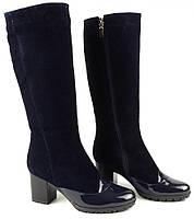 Женские сапоги синего цвета на каблуке