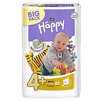 Подгузники Happy 4+ (9-20 кг), 62 шт