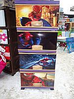 Комод пластиковый, с рисунком Человек Паук