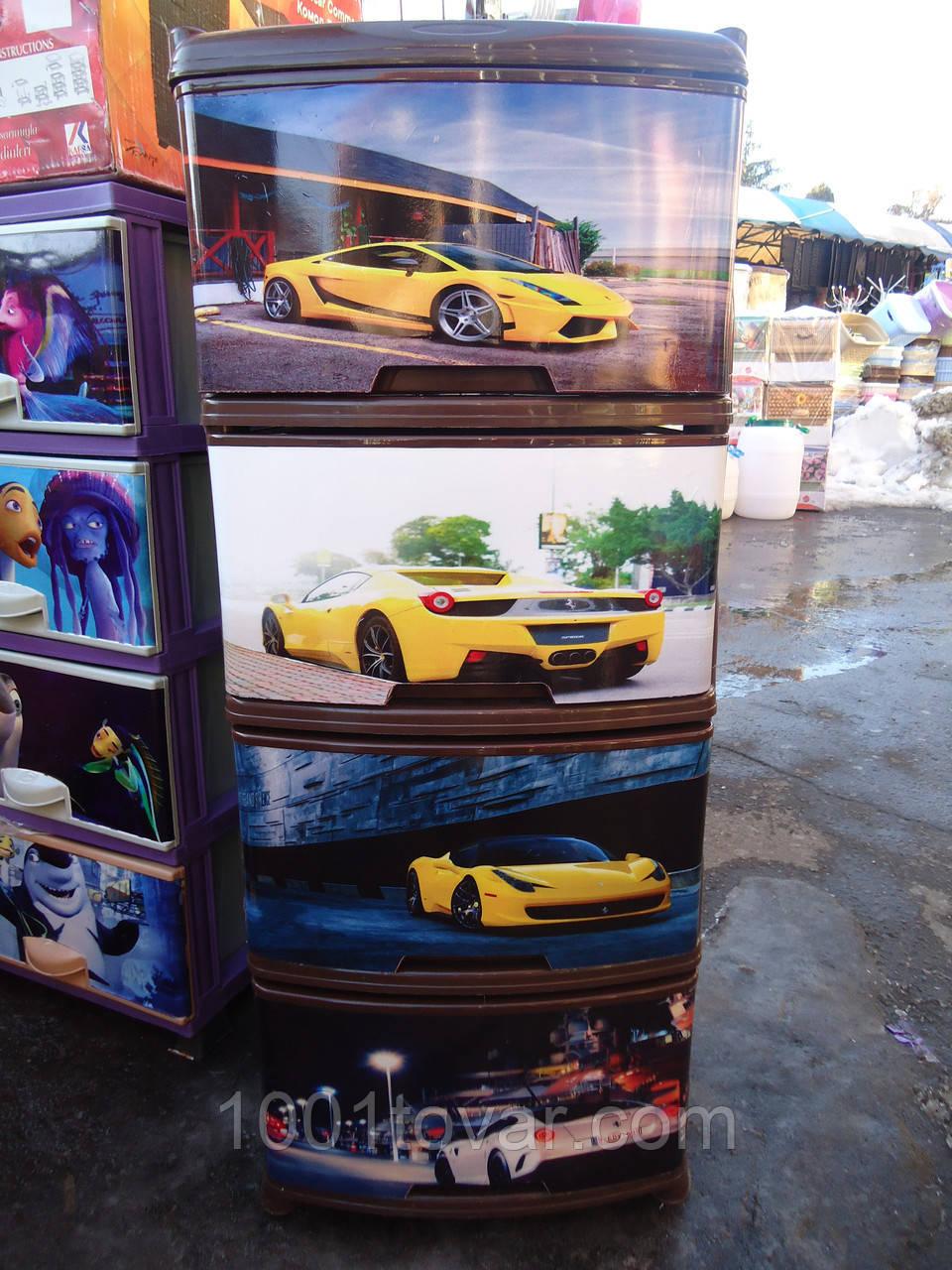 Комод пластиковый, с рисунком Авто 6