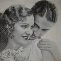 Салфетка Влюбленная пара(ретро)