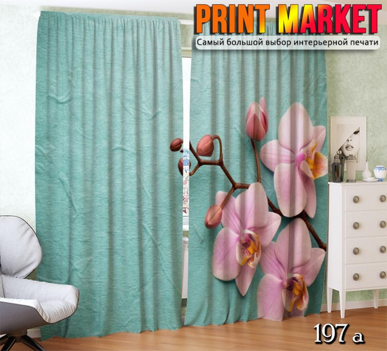 Фотошторы розовая орхидея три цветка