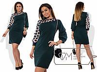 Платье женское креп-дайвинг сетка+цветы размер 48-54