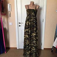 Платье женское летнее легкое сарафан на бретелях длинный камуфляжный стильный Mela Loves london