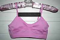 Топик женский спортивный микрофибра бесшовный, розовый, 1-2 чашка ОПГ 70-75 см