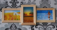 Рамка из деревы на 3 фото, цвет дерево