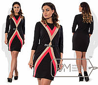 Платье  приталенное из креп-трикотажа с отделкой цветными линиями размер 48-54