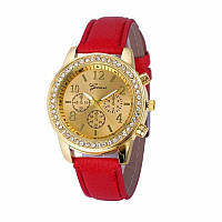 Стильные модные женские часы Geneva Crystall со стразами , красные