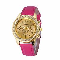 Стильные модные женские часы Geneva Crystall со стразами , розовые