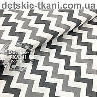 Ткань хлопковая с серыми и графитовыми зигзагами  (№ 595)