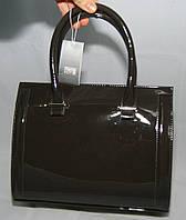 Тёмно-серая каркасная лаковая женская сумка Voila (Wallaby)