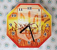 Настенные часы с гербом Украины и пшеницей