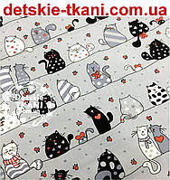 """Ткань хлопковая """"Мартовские коты"""" серо-чёрные с красным сердечком на сером фоне (№ 600а)"""