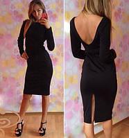 Элегантное черное платье с разрезом,открытой спиной.раз.с.м.длина 90 см.ткань франц.-трикотаж.