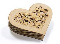 Шкатулка-сердечко Узор с закрытой крышечкой большая