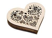 Шкатулка-сердечко Орнамент с прорезанной крышечкой большая