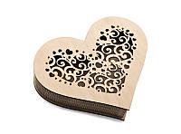 Шкатулка-сердечко Орнамент с прорезанной крышечкой средняя