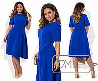 Платье  из костюмки с коротким рукавом и фигурным запахом из складок на асимметричной юбке раз.48-54