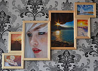 Деревянная фоторамка на стену на 6 фото.
