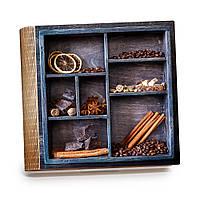 Шкатулка-книга на магните с 9 отделениями XL Кофе и корица