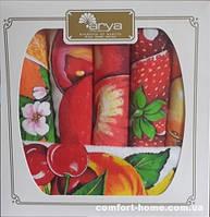 Салфетки Arya махровые в коробке 30Х50 6 Пр. с фруктами