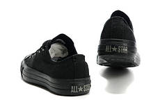 Мужские кеды Converse All Star II mono низкие черные топ реплика, фото 2