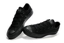 Мужские кеды Converse All Star II mono низкие черные топ реплика, фото 3