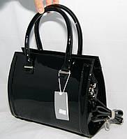 Чёрная каркасная лаковая женская сумка Voila (Wallaby)