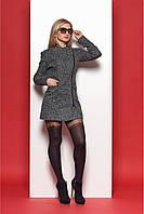 Модное женское пальто из ткани букле серого цвета