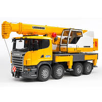 03570 Игрушка - автокран SCANIA - Liebherr большой (свет+звук), М1:16