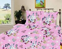 Детское постельное белье полуторное Литл Пони подростковый Мальва