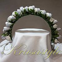 """Вінок на обручі """"Квіти"""" Ручна робота Белые (Тип2)"""