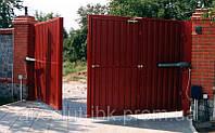 Распашные автоматические ворота из профнастила