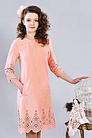 Подростковое замшевое платье с узором перфорацией, персиковое
