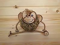 Сувенирная игрушка из сена Обезьянка 13х14 см