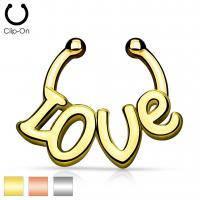 Cерьги (кафф) без прокола с надписью Love SEPR-71-RD c2aee1ef6e4e3