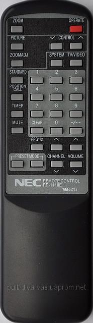 Пульт от телевизора NEC. Модель RD-1110E