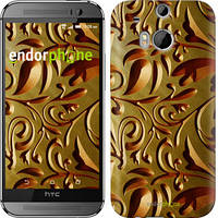 "Чехол на HTC One M8 Золотой металлический узор ""746c-30"""