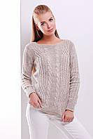 Женский шерстяной свитер в косички