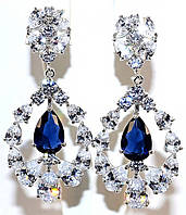 Серьги вечерние.Камень: синий и белый циркон. Высота серьги: 5 см. Ширина: 23 мм.