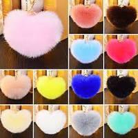 Разноцветный мех кролика сердце плюшевое брелок для сумки телефон кулон
