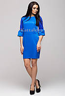 Стильное деловое платье синее